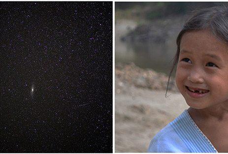 Bimba che guarda il cielo birmano